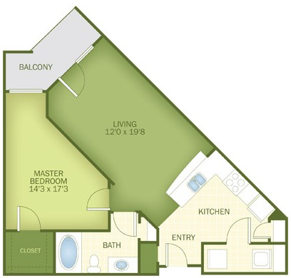 764 sq. ft. Crescent floor plan