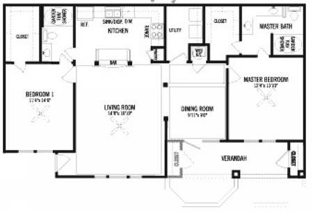1,283 sq. ft. B1 floor plan