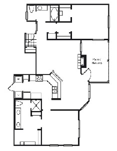 1,216 sq. ft. B3 floor plan