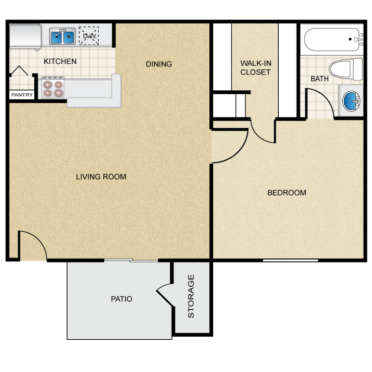 625 sq. ft. C floor plan