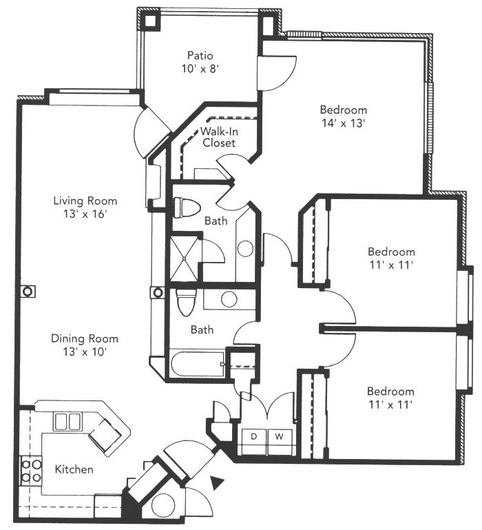 1,264 sq. ft. to 1,268 sq. ft. Dominion floor plan