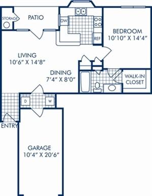 732 sq. ft. A2CR floor plan