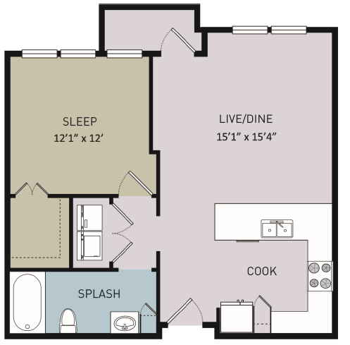 697 sq. ft. to 721 sq. ft. A5 floor plan