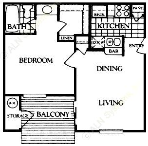 474 sq. ft. Ashton floor plan