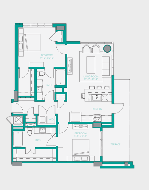 1,104 sq. ft. B1.2 floor plan