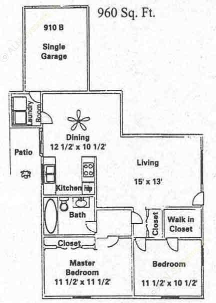 960 sq. ft. B1 floor plan