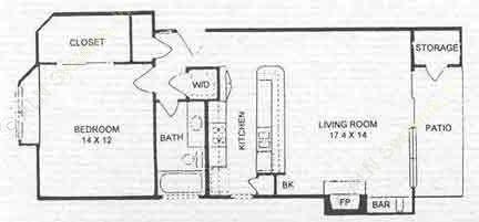 736 sq. ft. A2 floor plan