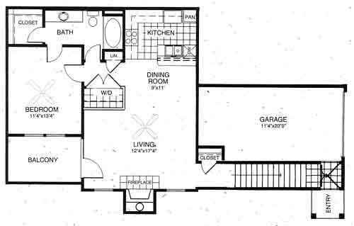 868 sq. ft. Bradford floor plan