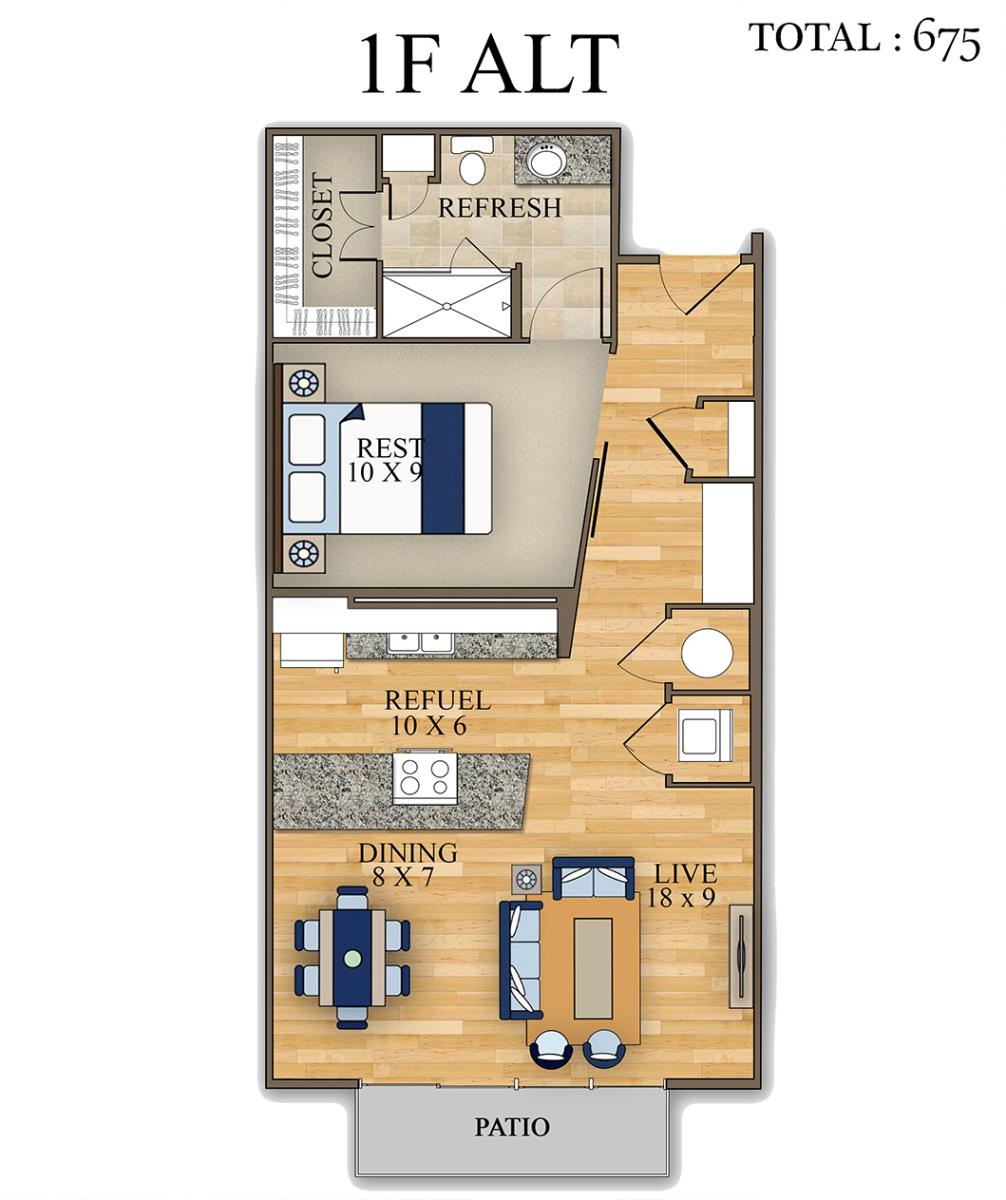 677 sq. ft. floor plan