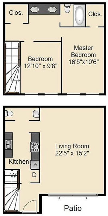 1,115 sq. ft. E floor plan