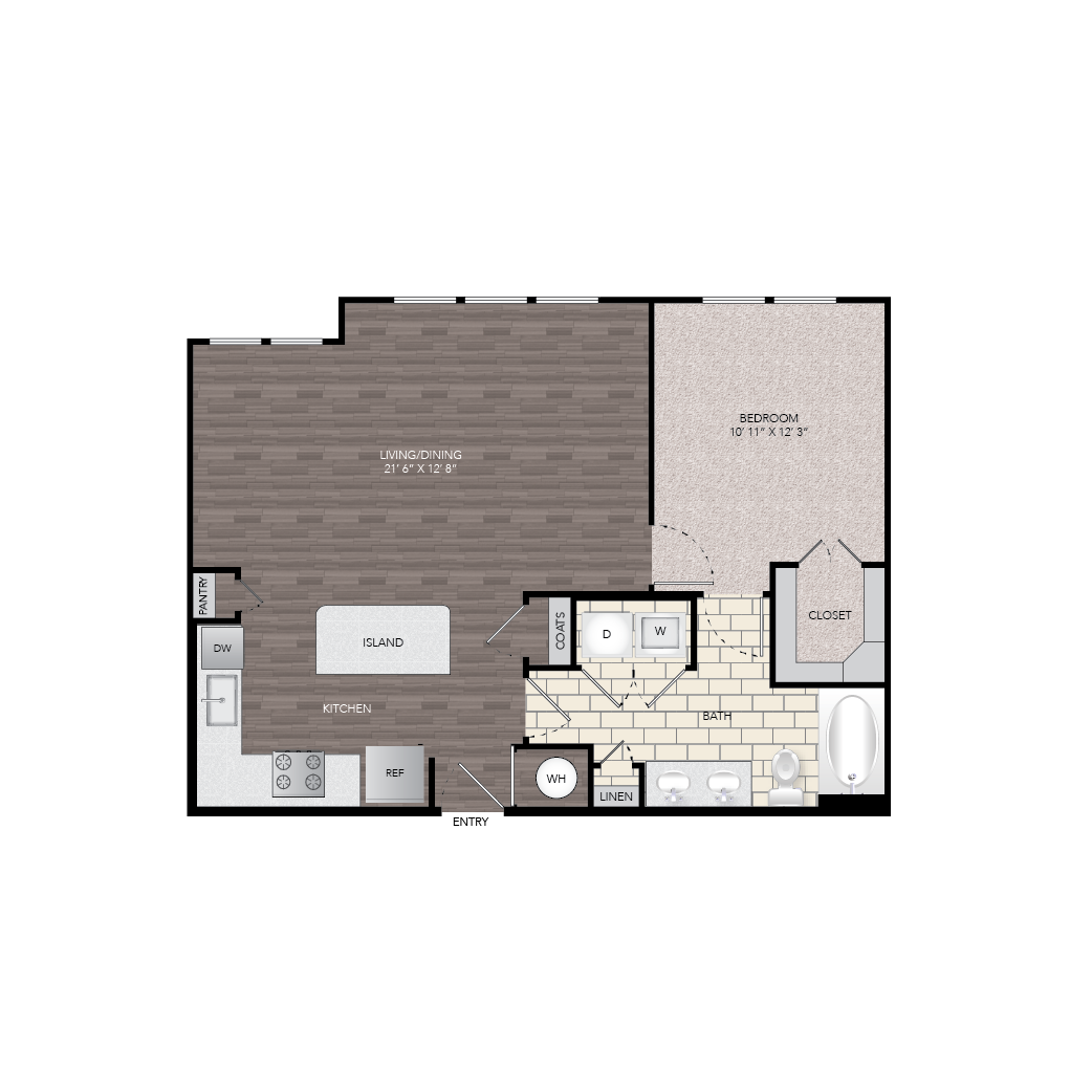 835 sq. ft. A9 floor plan
