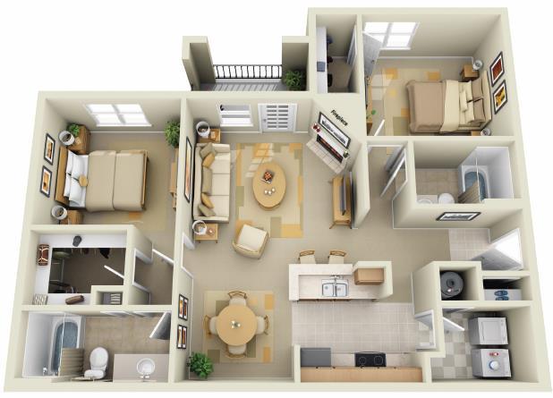 1,127 sq. ft. floor plan