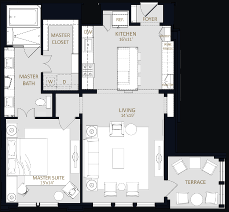 1,084 sq. ft. A1 floor plan