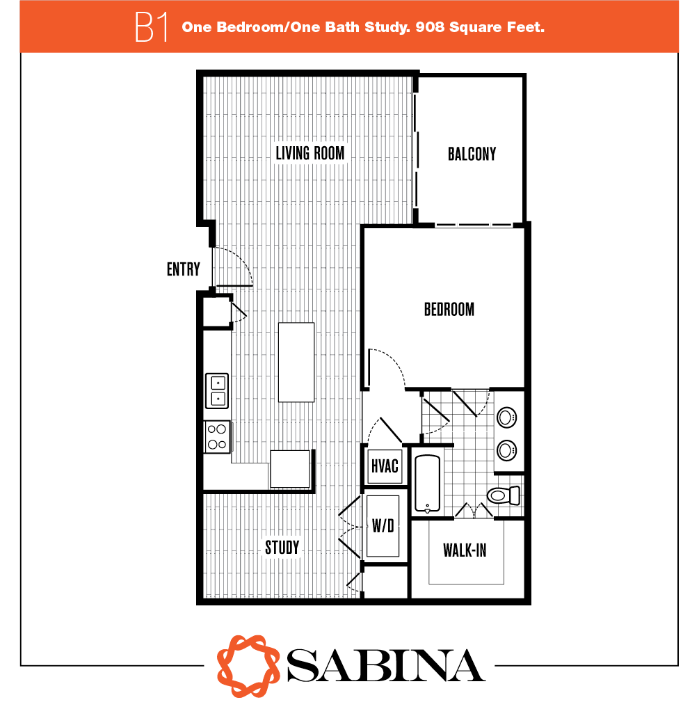 908 sq. ft. B1 floor plan
