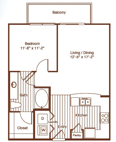 704 sq. ft. floor plan