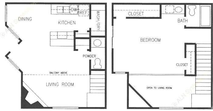 838 sq. ft. LOFT floor plan
