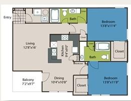1,225 sq. ft. B2 floor plan