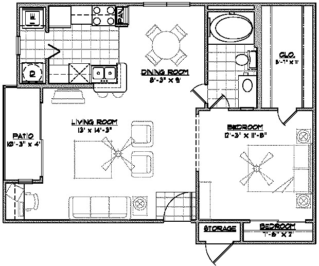 823 sq. ft. E3 floor plan