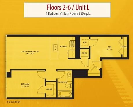 880 sq. ft. L floor plan