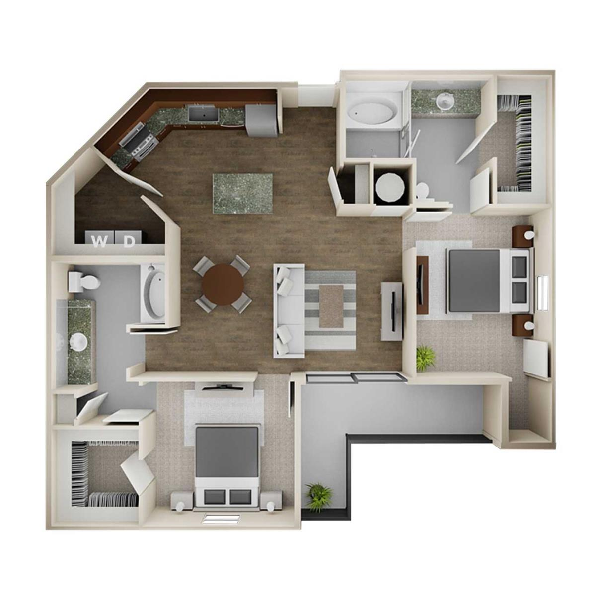 1,209 sq. ft. 2B floor plan