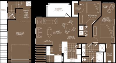 1,177 sq. ft. Monaco floor plan