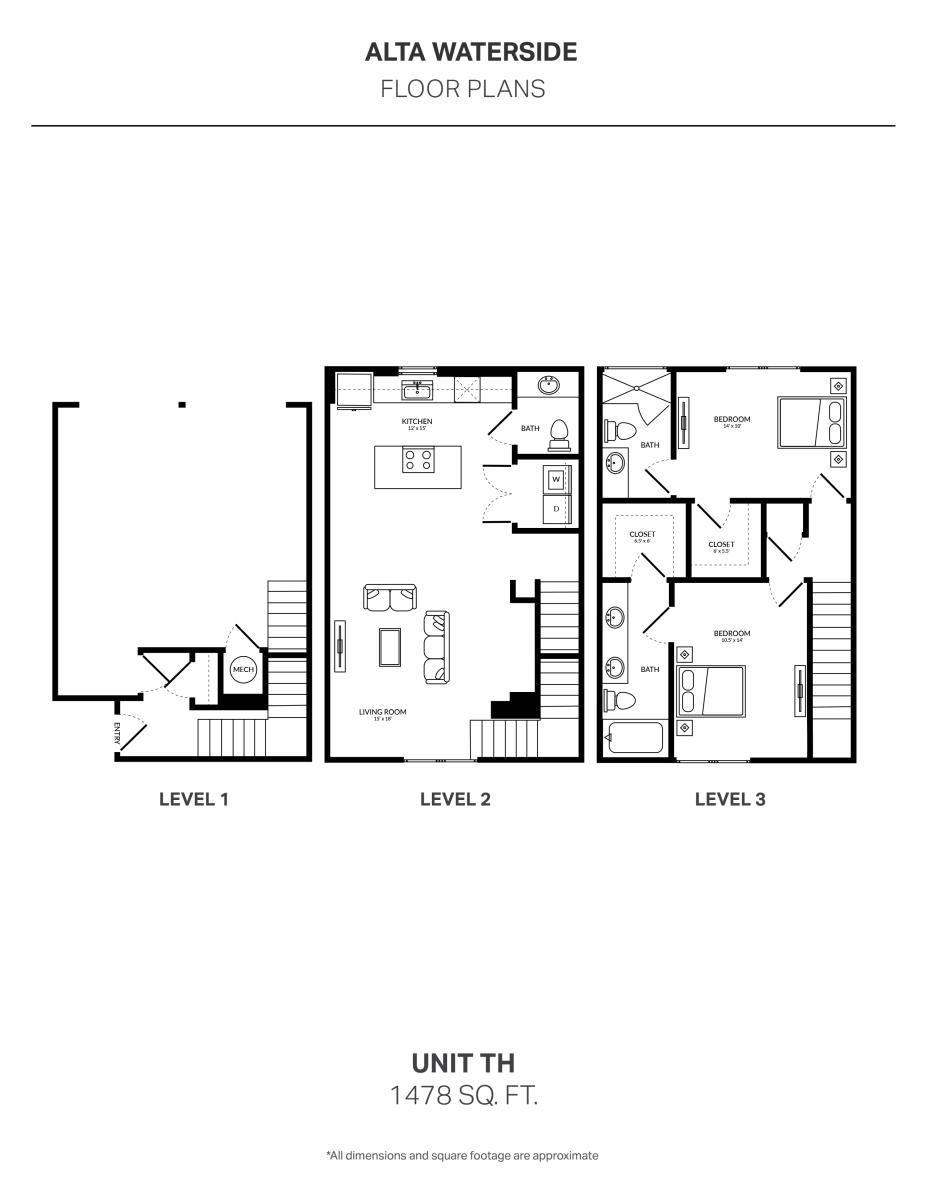 1,478 sq. ft. 2T TH floor plan