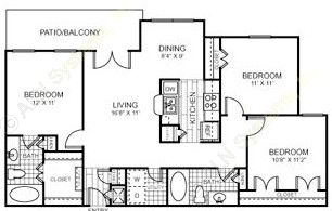 1,089 sq. ft. to 1,131 sq. ft. C1/60 floor plan