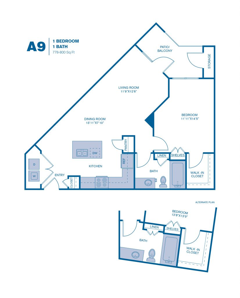 778 sq. ft. A9 floor plan