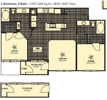 1,134 sq. ft. to 1,143 sq. ft. floor plan