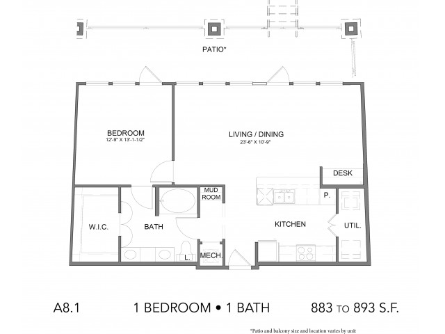 883 sq. ft. A8.1 floor plan