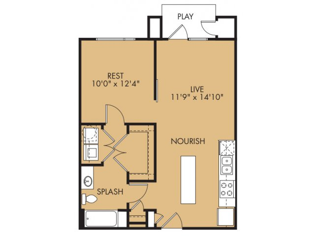 740 sq. ft. A9x floor plan