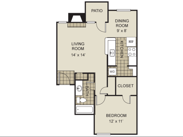 680 sq. ft. A1-B floor plan
