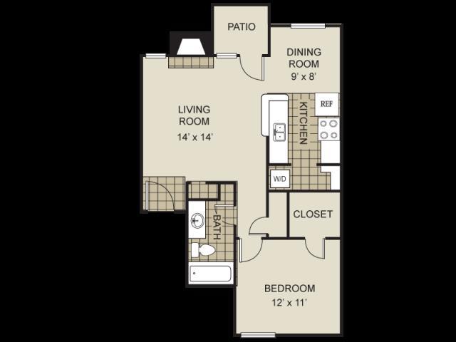 680 sq. ft. A1-B floor plan