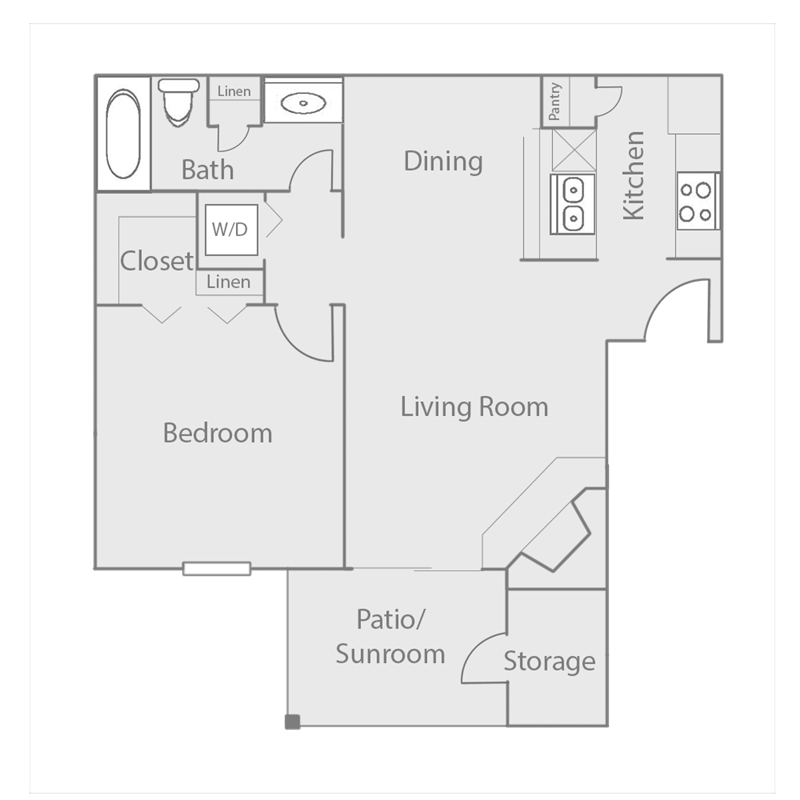 640 sq. ft. to 733 sq. ft. A4 floor plan