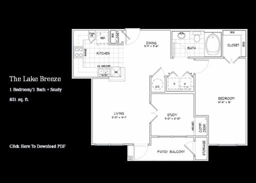 851 sq. ft. Windsong floor plan