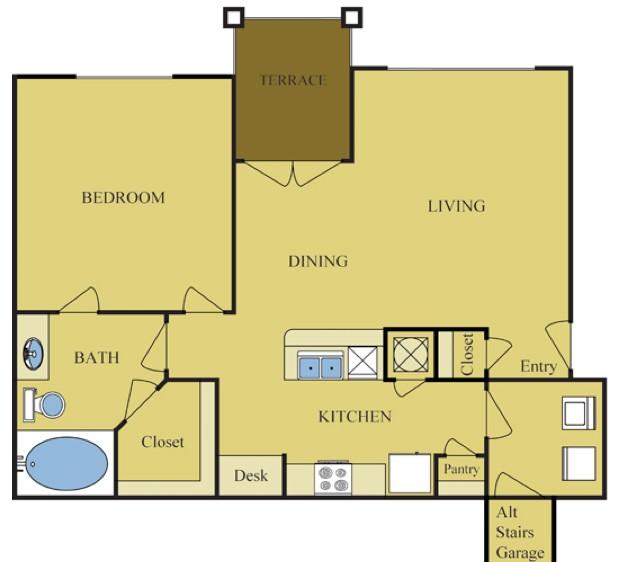 821 sq. ft. MAPLE floor plan