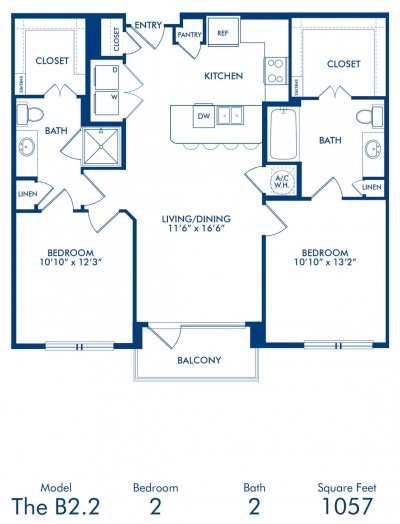 1,057 sq. ft. B2.2 floor plan