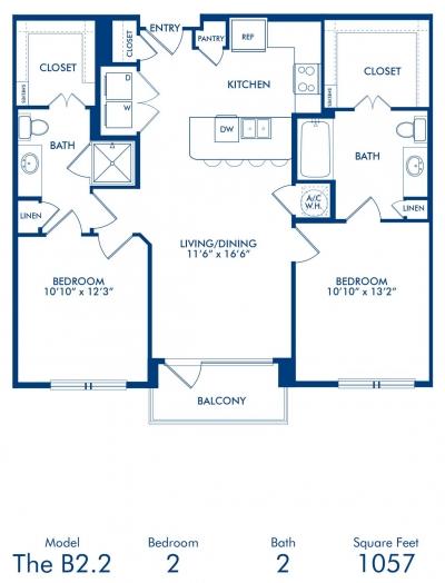 1,057 sq. ft. B2.2 floor plan