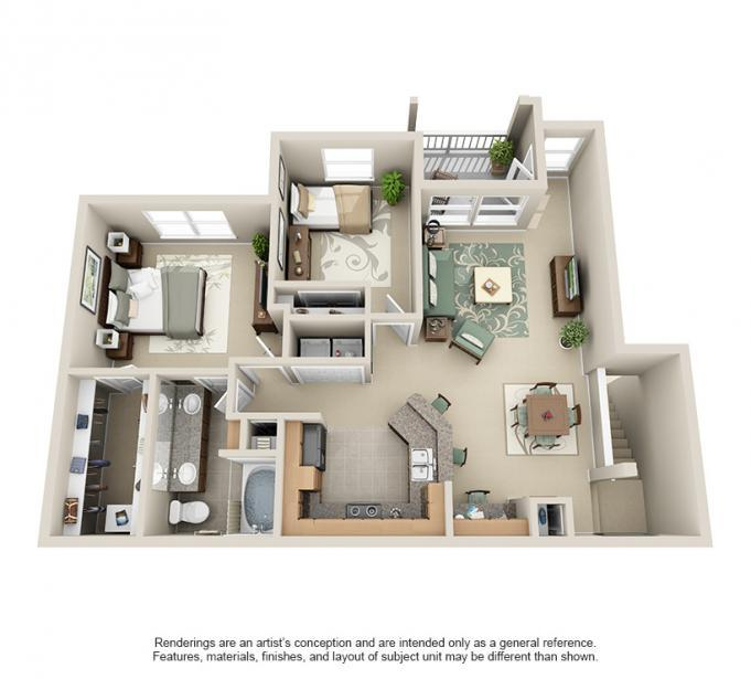 1,095 sq. ft. Flamenco floor plan