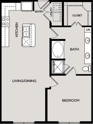 887 sq. ft. A10 floor plan