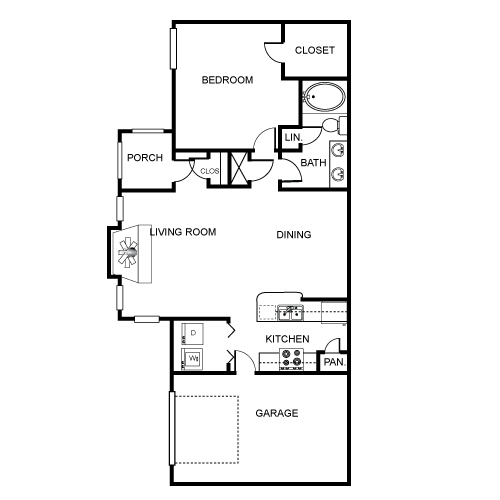 905 sq. ft. A1 floor plan