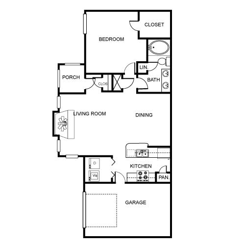 905 sq. ft. A1 floor plan