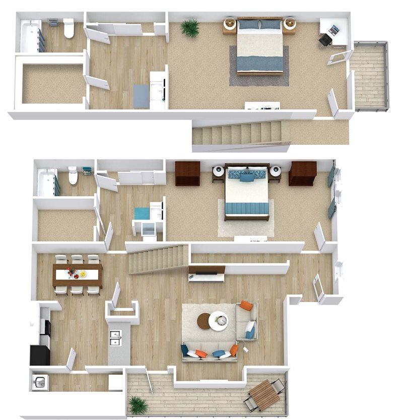1,105 sq. ft. Laurie floor plan