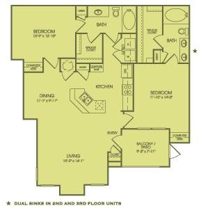 1,262 sq. ft. B3 floor plan