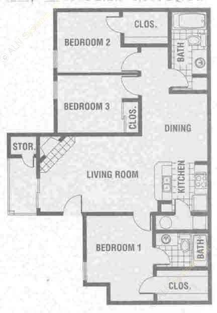 1,309 sq. ft. C2 floor plan