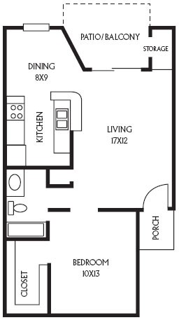 648 sq. ft. A6 floor plan