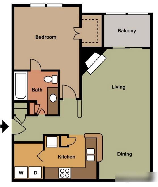 861 sq. ft. B floor plan