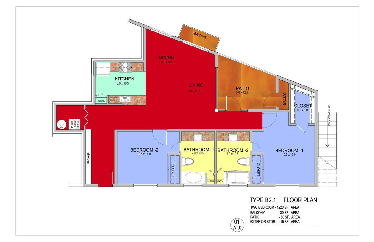 1,380 sq. ft. Maple floor plan