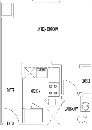 409 sq. ft. REGENT floor plan