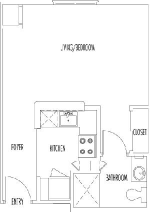 409 sq. ft. REGENT floor plan